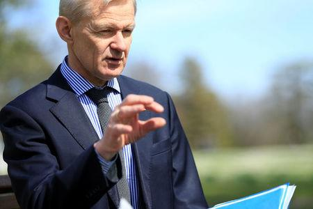 U.N. Special Advisor for Syria Jan Egeland speaks during an interview with Reuters during the fifth round of intra-Syrian talks in Geneva