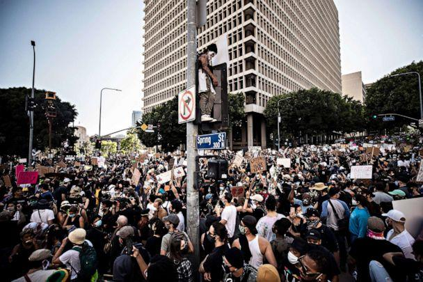 PHOTO: Protesters rally during a demonstration with thousands of people near City Hall over the death in Minneapolis police custody of George Floyd, in Los Angeles, June 3, 2020. (Etienne Laurent/EPA via Shutterstock)