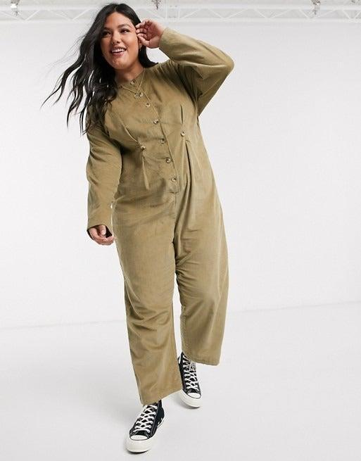 """<br><br><strong>ASOS DESIGN Curve</strong> Cord Relaxed Boilersuit, $, available at <a href=""""https://www.asos.com/asos-curve/asos-design-curve-cord-relaxed-boilersuit-in-khaki/prd/12977602?colourwayid=16525689&SearchQuery=corduroy"""" rel=""""nofollow noopener"""" target=""""_blank"""" data-ylk=""""slk:ASOS"""" class=""""link rapid-noclick-resp"""">ASOS</a>"""
