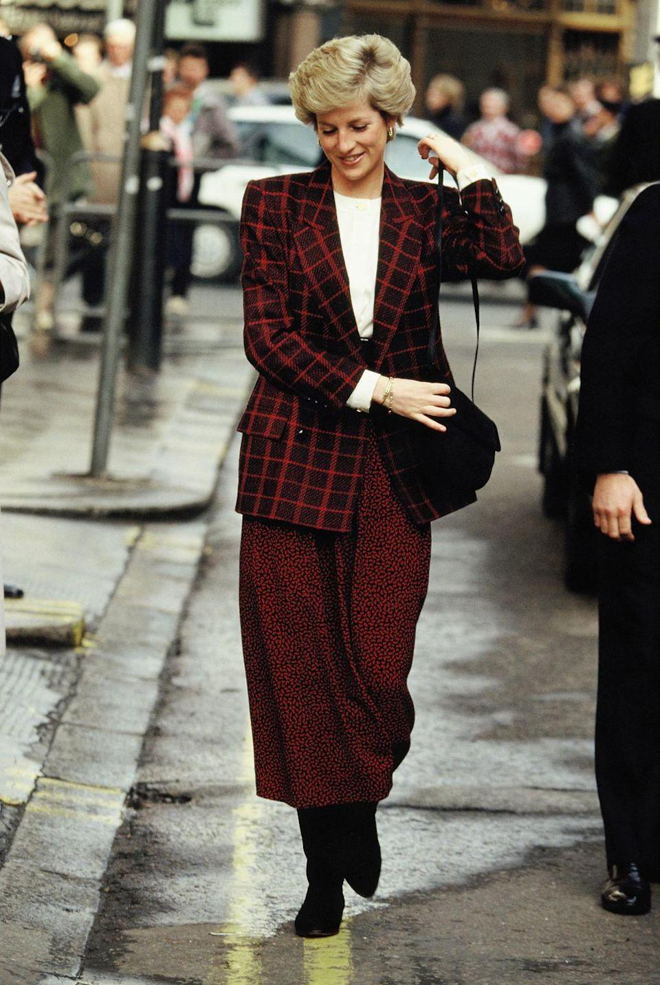 """<p>Nothing says """"carefree"""" more than mixing and matching a plaid blazer jacket with a polka dot skirt.</p>"""