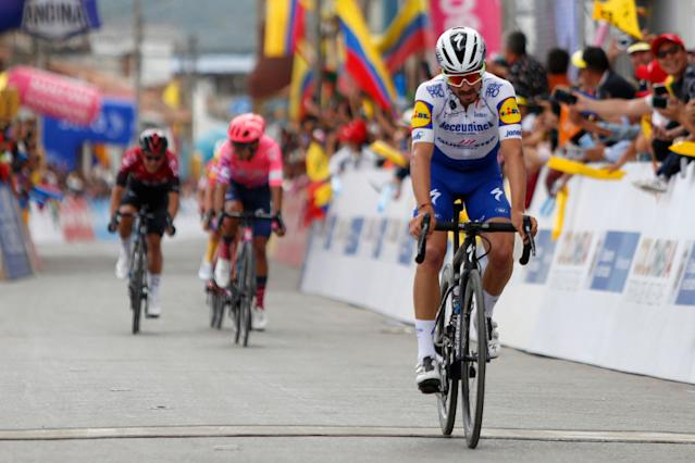 BOYACA COLOMBIA FEBRUARY 14 Arrival Julian Alaphilippe of France and Team Deceuninck Quick Step Daniel Felipe Martinez Poveda of Colombia and Team EF Pro Cycling during the 3rd Tour of Colombia 2020 Stage 4 a 1686km stage from Paipa to Santa Rosa de Viterbo Boyac 2751m TourColombiaUCI TourColombia2020 on February 14 2020 in Boyac Colombia Photo by Maximiliano BlancoGetty Images