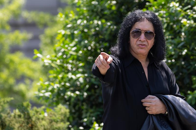 Kiss frontman Gene Simmons, pays a surprise visit to the White House, on Thursday, May 16, 2019. (Photo by Cheriss May/NurPhoto via Getty Images)