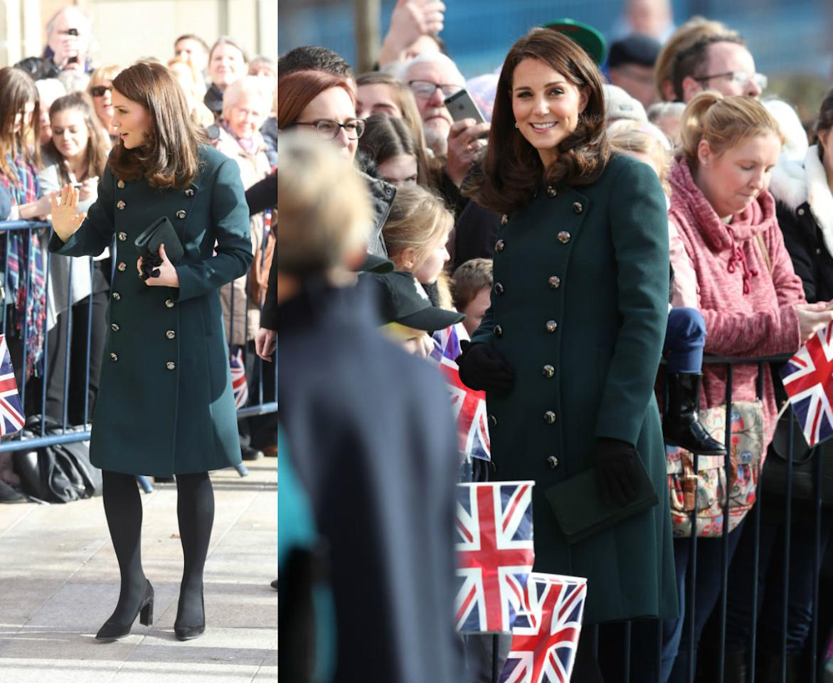 """<p><strong>When: Feb. 21, 2018</strong><br />Kate Middleton and Prince William visited Sunderland, England, on Wednesday in effort to promote the city's arts and music scene — but all eyes were on the pregnant Duchess's stunning outfit! Kate, who is expecting her third baby (<a rel=""""nofollow"""" href=""""https://ca.style.yahoo.com/things-know-next-royal-baby-211505875.html"""">or perhaps even twins as rumour has it</a>) in April, rocked a green, double-breasted Dolce and Gabbana coat complemented with block suede heels and a clutch. <em>(Photo: Getty)</em> </p>"""