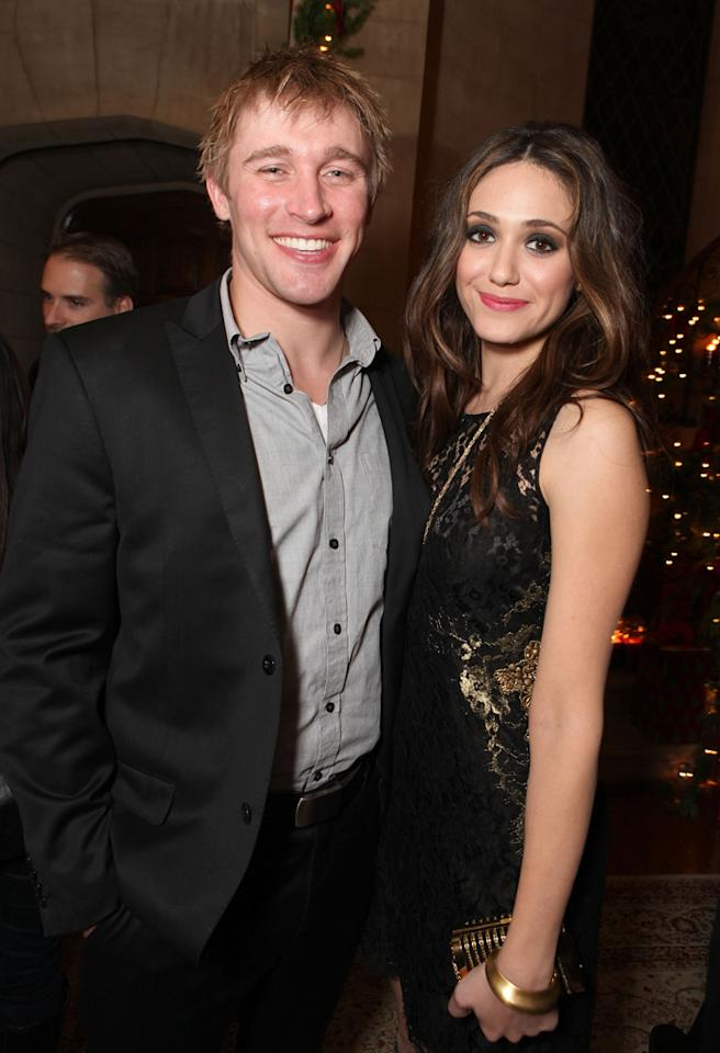 "LOS ANGELES, CA - DECEMBER 01:  (EXCLUSIVE COVERAGE) Tyler Jacob Moore of ""Shameless"" and Emmy Rossum of ""Shameless"" at Showtime's 6th Annual Holiday Soiree held at The Quincy Estate on December 1, 2011 in Los Angeles, California.  (Photo by Eric Charbonneau/WireImage)"