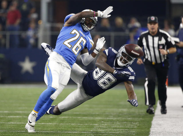 <p>Los Angeles Chargers cornerback Casey Hayward (26) breaks up a pass intended or Dallas Cowboys' Dez Bryant (88) along the sideline in the second half of an NFL football game, Thursday, Nov. 23, 2017, in Arlington, Texas. (AP Photo/Ron Jenkins) </p>