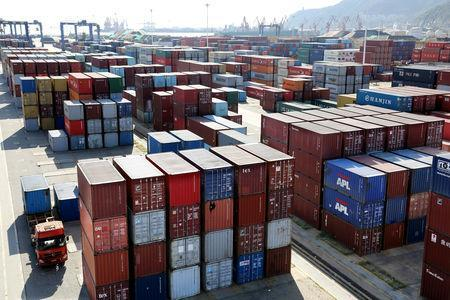 FILE PHOTO: Shipping containers are seen at a port in Lianyungang, Jiangsu province, China September 8, 2018. REUTERS/Stringer