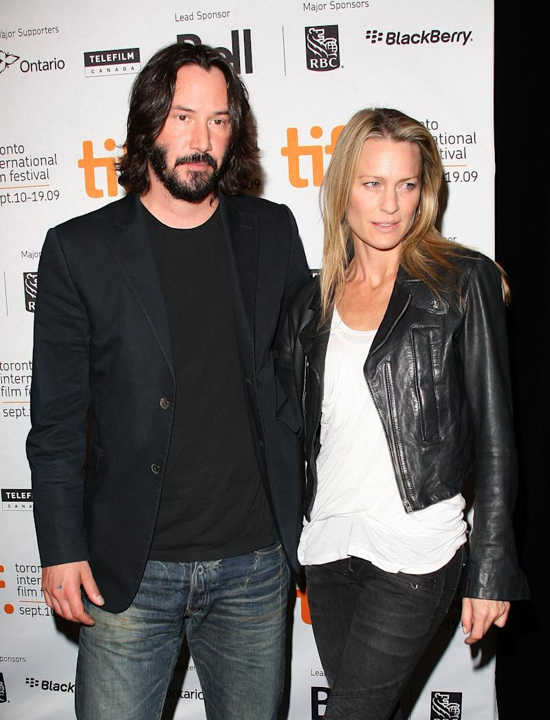 Actors Keanu Reeves and Robin Wright Penn speak onstage at the 'The Private Lives Of Pippa Lee' press conference held at the Four Seasons Hotel on September 15, 2009 in Toronto, Canada.