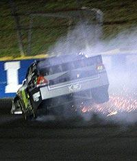 Jimmie Johnson's car gets airborne after slamming the wall nose first