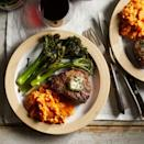 <p>A small quantity of compound butter, seasoned with garlic and herbs, makes a simple but delicious finish for a tender steak. We have rounded out this colorful healthy meal with roasted broccolini and mashed sweet potato--the perfect impressive yet easy dinner for date night-in.</p>