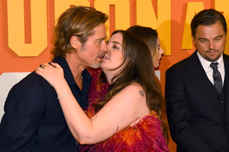 "Brad Pitt and Lena Dunham attend the ""Once Upon a Time... in Hollywood"" UK Premiere at Odeon Luxe Leicester Square on July 30, 2019 in London, England. (Photo by Dave J Hogan/Getty Images)"