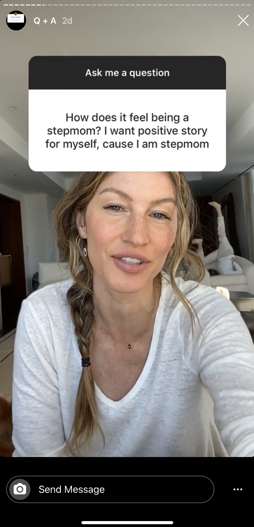 Gisele Bunchen, the wife of NFL star Tom Brady and stepmother to his son with former girlfriend Bridget Moynahan, opened up about her blended family. (Screenshot: Instagram/Gisele Bunchen)