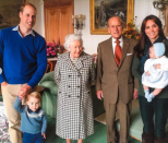 <p>The royal family shared more photographs of The Duke of Edinburgh, remembering him as a father, grandfather and great-grandfather, including this sweet one with William, Kate and a young Prince Georgie and baby Princess Charlotte. Photo: Instagram/royalfamily</p>