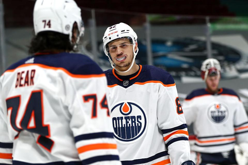 Oilers defenceman Caleb Jones could very well be on the Seattle Kraken's radar as the 2021 NHL Expansion Draft looms. (Getty)