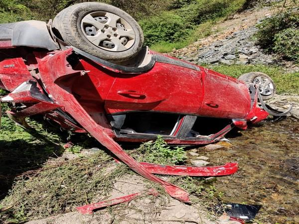 Four killed after car rolled down to gorge in Shimla on Friday. Photo/ANI