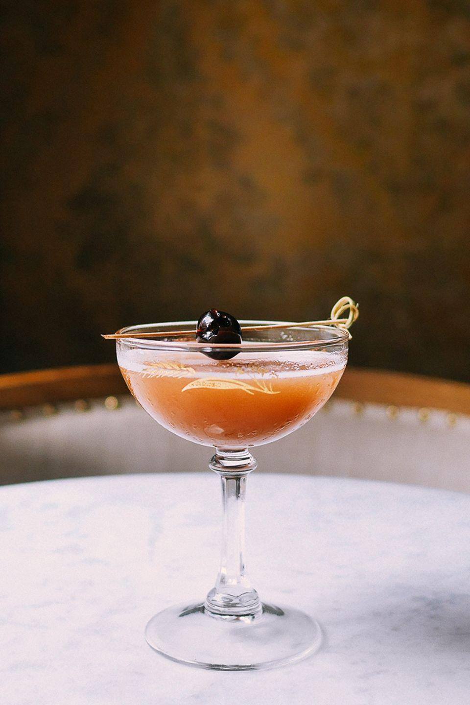 """<p><strong><strong>Ingredients</strong></strong></p><p>1.5 oz cognac<br>.5 oz <a href=""""https://www.liquor.com/recipes/cinnamon-syrup/"""" rel=""""nofollow noopener"""" target=""""_blank"""" data-ylk=""""slk:cinnamon syrup"""" class=""""link rapid-noclick-resp"""">cinnamon syrup<br></a>1 large spoonful of apple butter or apple syrup</p><p><strong><strong>Instructions</strong></strong></p><p>Shake ingredients before pouring into a sophisticated coupe glass. Garnish with a cinnamon stick.</p><p><em>From <a href=""""http://www.celestechicago.com/"""" rel=""""nofollow noopener"""" target=""""_blank"""" data-ylk=""""slk:Celeste"""" class=""""link rapid-noclick-resp"""">Celeste</a> in Chicago, IL</em></p>"""