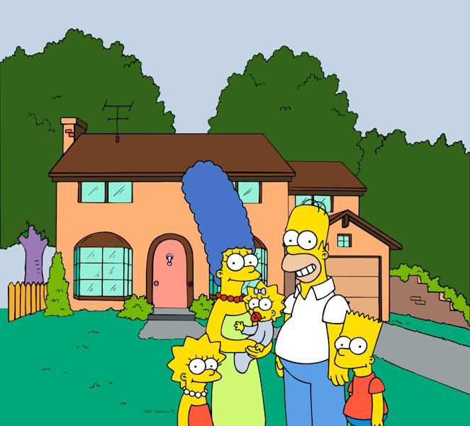 """FILE - This undated frame from the Fox series """"The Simpsons,"""" shows the popular cartoon family posing in front of their home, from left, Lisa , Marge , Maggie, Homer and Bart Simpson. Television networks are masters of self-promotion, so it's no surprise that Fox is carving out two prime-time hours Sunday April 22, 2012 to celebrate its 25th year (AP Photo/Fox Broacasting Co.)"""