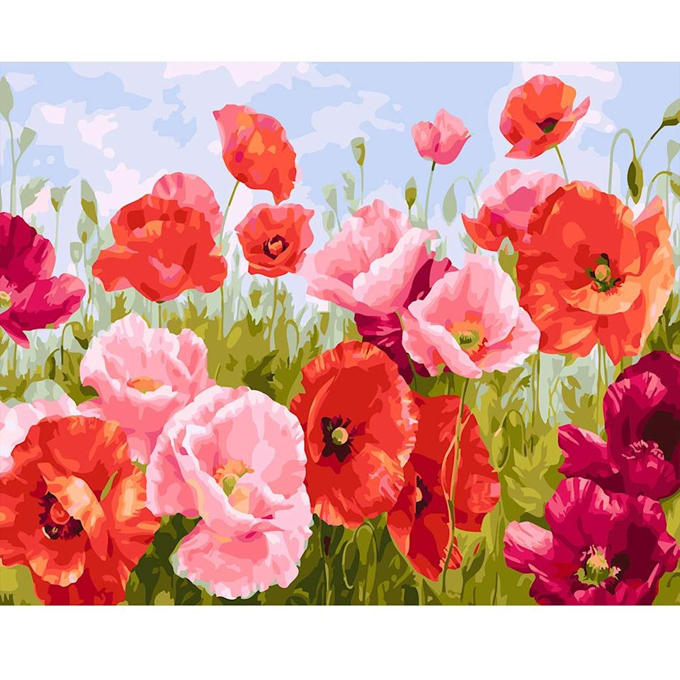 """<br><br><strong>COLORWORK</strong> Paint by Numbers, Acrylic Pigment-Flying Flower, $, available at <a href=""""https://amzn.to/2QZ8Z5I"""" rel=""""nofollow noopener"""" target=""""_blank"""" data-ylk=""""slk:Amazon"""" class=""""link rapid-noclick-resp"""">Amazon</a>"""