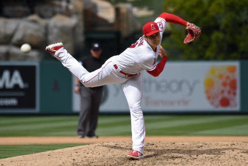 Los Angeles Angels starting pitcher Shohei Ohtani, of Japan, throws to the plate during the seventh inning of a baseball game against the Tampa Bay Rays Sunday, May 20, 2018, in Anaheim, Calif. (AP Photo/Mark J. Terrill)