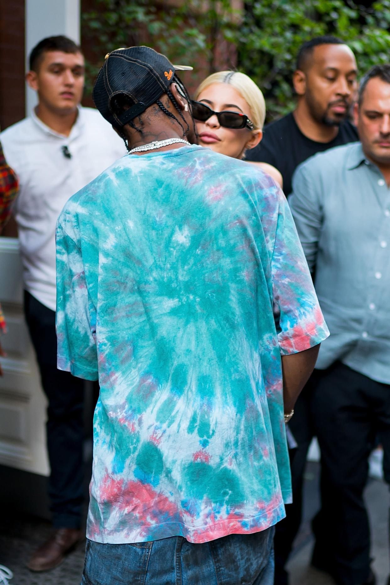 NEW YORK, NY - AUGUST 21: Travis Scott (L) and Kylie Jenner are seen in SoHo on August 21, 2018 in New York City. (Photo by Gotham/GC Images)