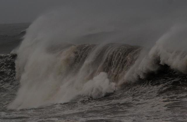 A view of high waves at Dhamra area of Bhadrak district, 160 km away from the eastern Indian state Odisha's capital city as the Cyclone 'Amphan' cross the Bay of Bengal Sea's eastern coast making devastation on the cyclonic weather wind and rain and make landfall on the boarder of West Bengal and Bangladesh on May 20, 2020. (Photo by STR/NurPhoto via Getty Images)