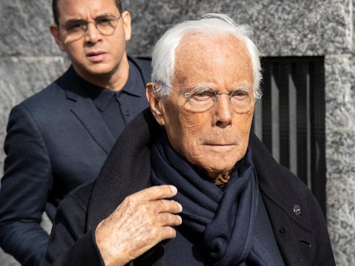 "Armani at Milan Fashion Week in February 2020. <p class=""copyright"">Marco Piraccini/Archivio Marco Piraccini/Mondadori Portfolio via Getty Images</p>"