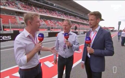 Sky Sports F1's presenting team: Simon Lazenby, Martin Brundle and Lewis Hamilton - Credit: SKY SPORTS F1
