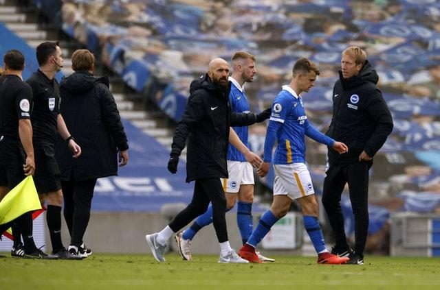 Graham Potter, right, waits for referee Chris Kavanagh at the final whistle