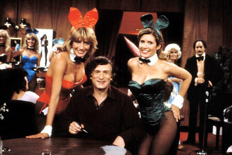 """<p><em>Laverne & Shirley</em>, """"The Playboy Show,"""" from Season 8, with Penny Marshall, Hugh Hefner, and Carrie Fisher.<br> (Photo: Everett Collection)</p>"""