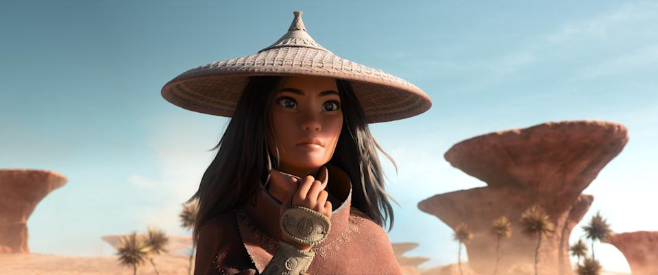 As an evil force threatens the kingdom of Kumandra, it is up to warrior Raya to leave her Heart Lands home and track down the legendary last dragon to help stop the villainous Druun. © 2020 Disney. All Rights Reserved.