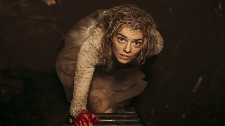 """The idea that rich people are awful sits at the core of many horror tales, and it's certainly true of wedding night survival tale <em>Ready or Not</em>. Samara Weaving has to play the world's highest stakes game of hide and seek in order to avoid her murderous in-laws. She makes for a compelling protagonist, <a href=""""https://uk.movies.yahoo.com/ready-or-not-samara-weaving-horror-final-girl-final-woman-083941119.html"""" data-ylk=""""slk:described by Weaving as a &quot;final woman&quot; rather than a &quot;final girl&quot;;outcm:mb_qualified_link;_E:mb_qualified_link;ct:story;"""" class=""""link rapid-noclick-resp yahoo-link"""">described by Weaving as a """"final woman"""" rather than a """"final girl""""</a>. It's a crowd-pleasing odyssey of violence, culminating in one of the year's most shocking final reels. (Credit: Fox)"""
