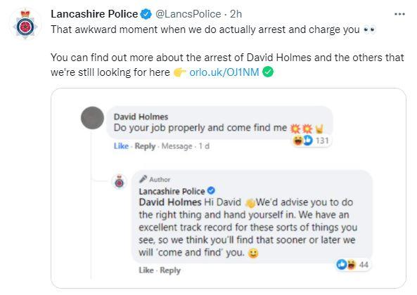 David Holmes taunted Lancashire Police on Twitter, baiting them to 'come and get me'. So they did. (Twitter)