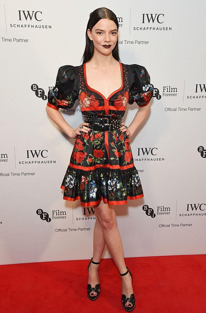 <p>Going for a goth-girl vibe the Argentinian-Brit paired a bold, dark like with slicked-back hair, platform heels and a rose-printed mini dress by Alexander McQueen.</p>