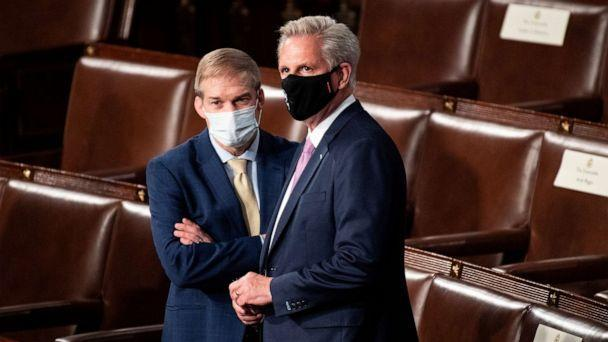 PHOTO: Rep. Jim Jordan and House Minority Leader Kevin McCarthy talk before the start of President Joe Biden's address to the joint session of Congress in the House chamber of the U.S. Capitol, April 28, 2021, in Washington. (Caroline Brehman/Pool via Getty Images)