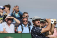 United States' Bryson DeChambeau play his tee shot at the 2nd during the first round British Open Golf Championship at Royal St George's golf course Sandwich, England, Thursday, July 15, 2021. (AP Photo/Ian Walton)