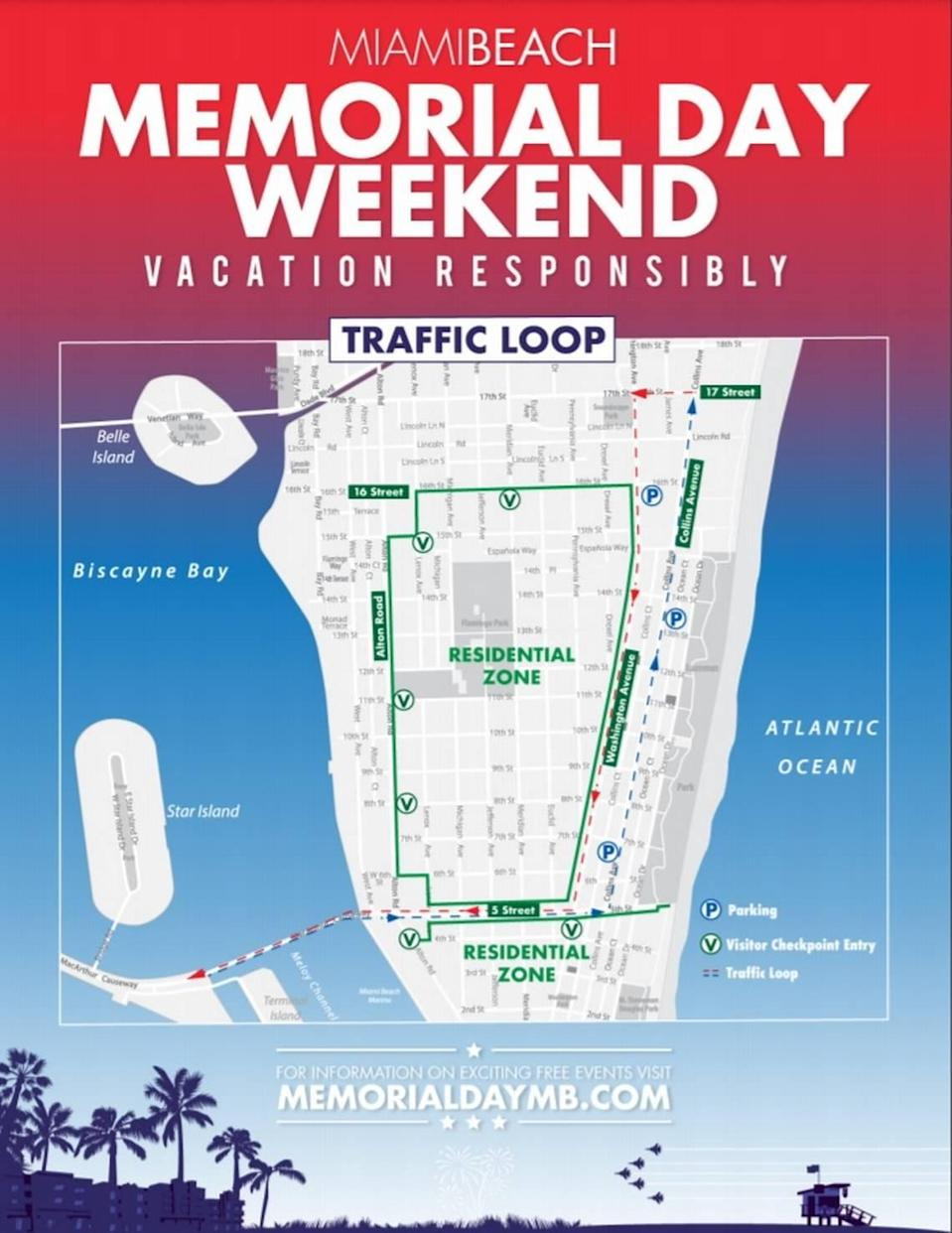 A diagram of the evening traffic loop that will be in place during Memorial Day Weekend in South Beach.