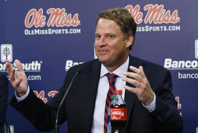 Lane Kiffin is now the head coach at Ole Miss after three years at Florida Atlantic. (AP Photo/Rogelio V. Solis)