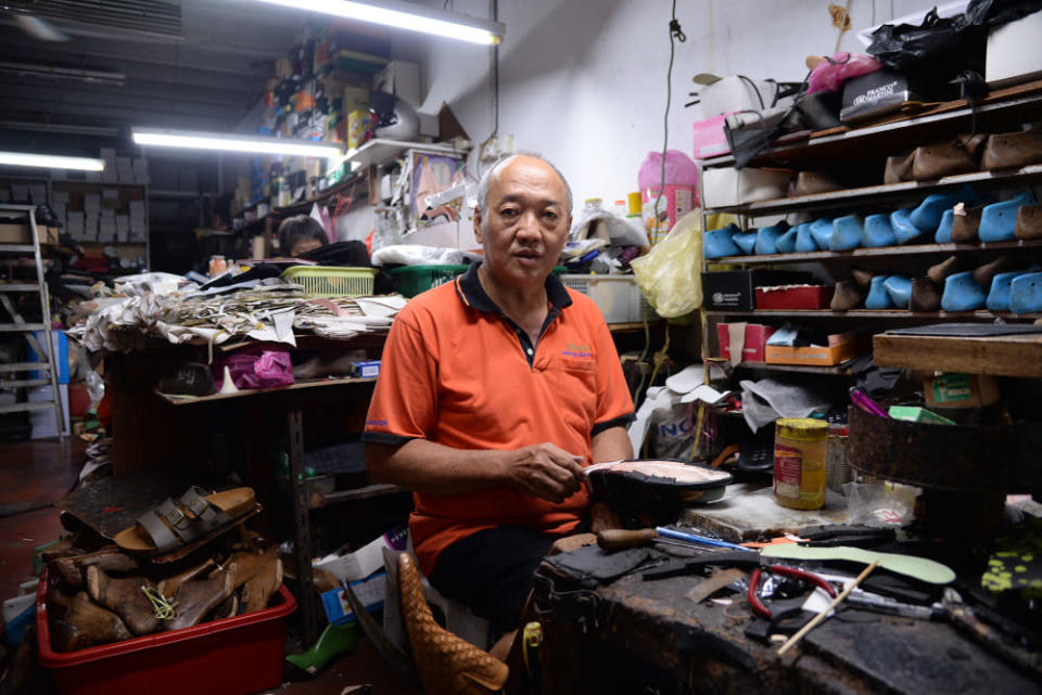 Wong is the second-generation shoemaker and owner of Hong Kong Shoe Store, where the famous shoe designer Datuk Jimmy Choo apprenticed decades ago. — Picture by Steven Ooi KE