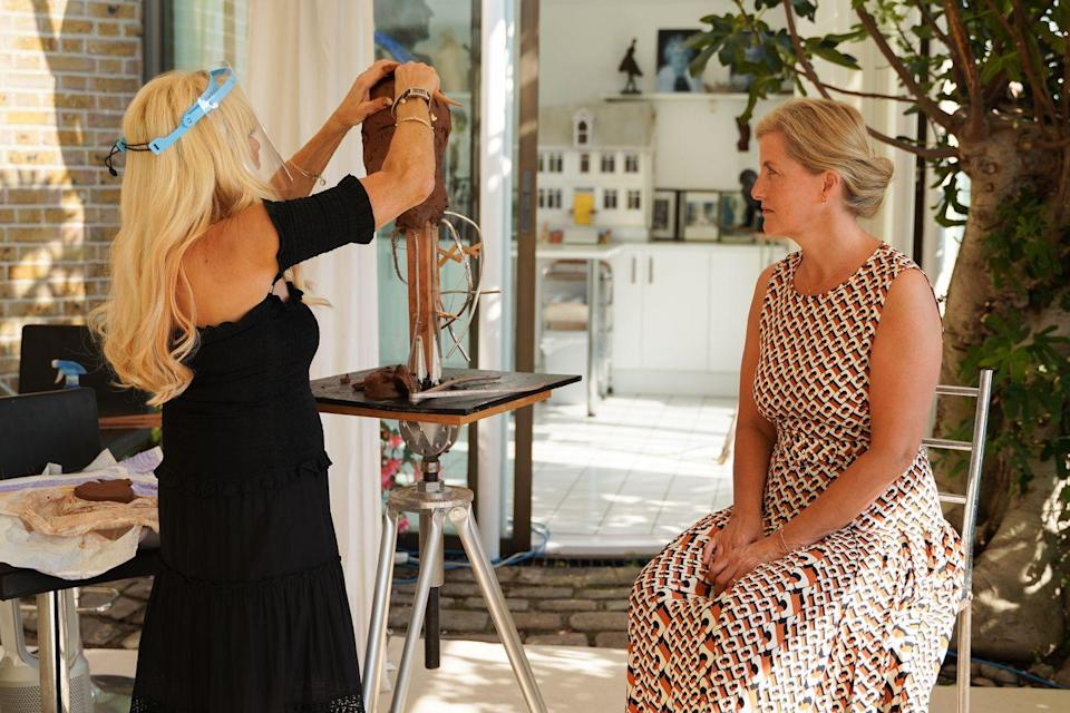 <p>Sophie chose a patterned dress to sit for a sculpture designed for the blind and partially sighted.</p>