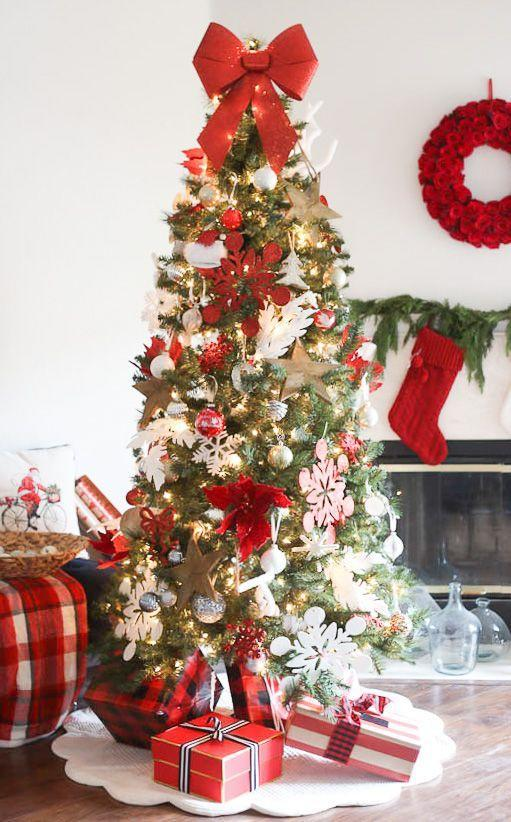 "<p>Celebrate the traditional aesthetic of Christmas to its full extent by playing with oversize ornaments in a classic color scheme. This red-and-white tree from <a href=""http://www.makinghomebase.com/classic-christmas-home-tour/"" rel=""nofollow noopener"" target=""_blank"" data-ylk=""slk:Making Home Base"" class=""link rapid-noclick-resp"">Making Home Base</a> showcases giant snowflake and star ornaments along with an oversize bow as a topper. </p>"