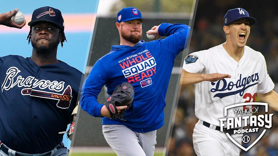 Touki Toussaint of the Atlanta Braves (L), Jon Lester of the Chicago Cubs (C) and Walker Buehler of the Los Angeles Dodgers (R) are starting pitchers to look out for this year on competitive squads but have large question marks surrounding their usage. (Getty Images)