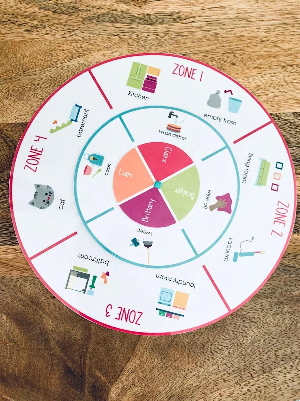 """<p>Turn chores into a game-show like experience with this printable lazy Susan-style wheel o' chores.</p><p><a href=""""https://go.redirectingat.com?id=74968X1596630&url=https%3A%2F%2Fwww.etsy.com%2Flisting%2F865783559%2Fprintable-family-rotation-wheel-chore&sref=https%3A%2F%2Fwww.womansday.com%2Fhome%2Fcrafts-projects%2Fg2597%2Fchore-charts-for-kids%2F"""" rel=""""nofollow noopener"""" target=""""_blank"""" data-ylk=""""slk:Get the printable at Etsy."""" class=""""link rapid-noclick-resp""""><strong><em>Get the printable at Etsy.</em></strong></a></p>"""
