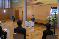 In this Feb. 19, 2021, photo provided by the Imperial Household Agency of Japan, Japan's Emperor Naruhito speaks during a press conference on the occasion of his 61st birthday on Feb. 23 at Akasaka Palace in Tokyo. Naruhito celebrated 61st birthday on Tuesday, Feb. 23, 2021. (The Imperial Household Agency of Japan via AP)