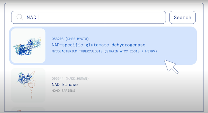 A screenshot of somebody searching DeepMind's AlphaFold DB database and receiving two results.