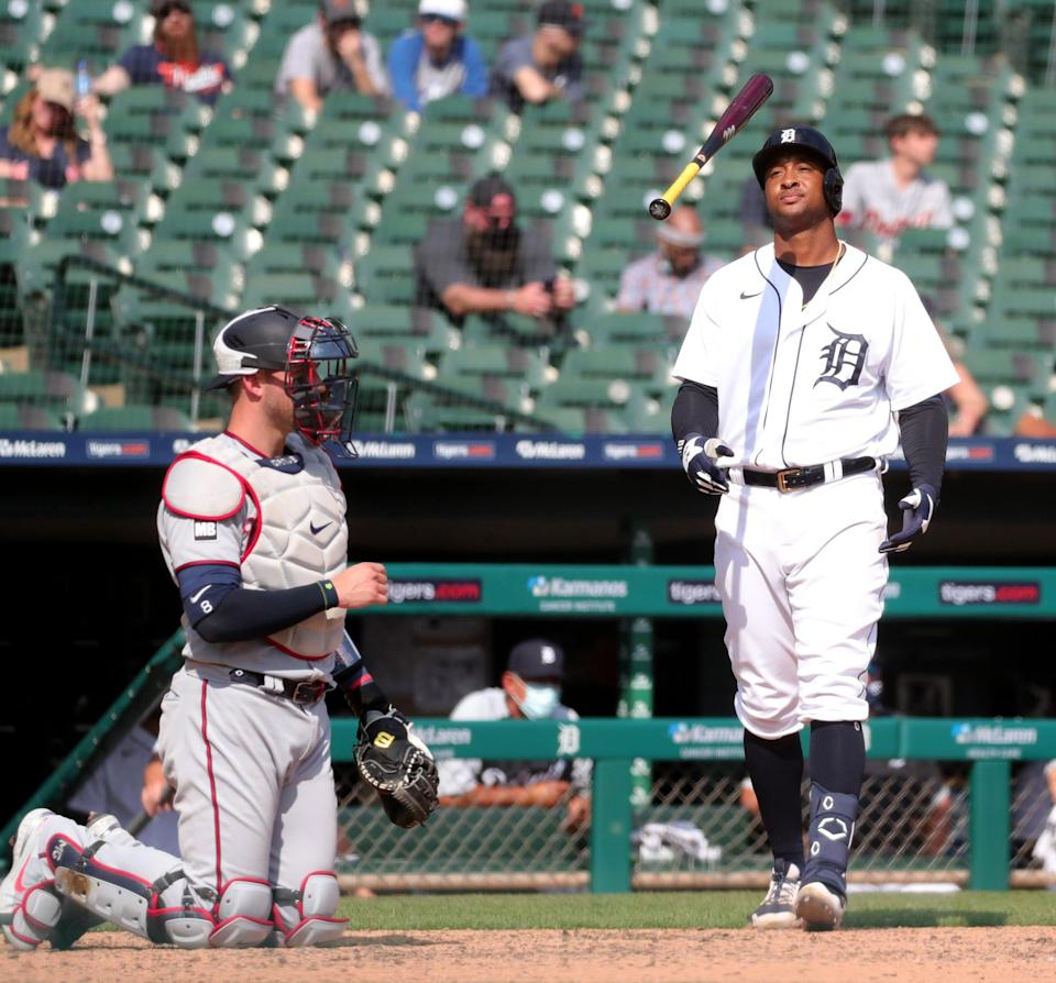 Detroit Tigers second baseman Jonathan Schoop (7) reacts to a called strike thrown by Minnesota Twins relief pitcher Alex Colome during ninth inning action on Wednesday, April 7, 2021, at Comerica Park in Detroit.