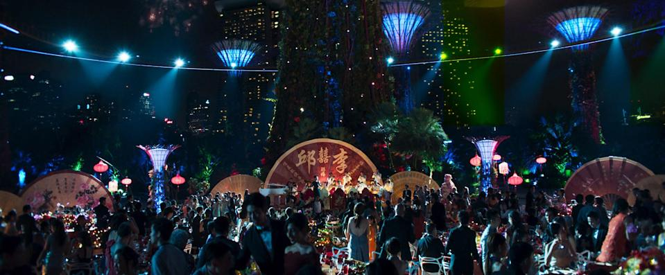 """The lavish wedding scene under the supertrees at Gardens by the Bay in """"Crazy Rich Asians"""". (PHOTO: Warner Bros)"""