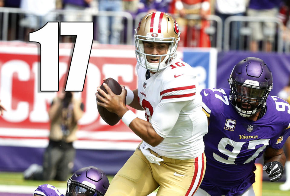 <p>There's not too much to be taken from the 49ers struggling against a very good Vikings defense. However, it's fair to wonder if maybe the 49ers aren't just going to move on from the Jerick McKinnon injury that easily. (Jimmy Garoppolo) </p>