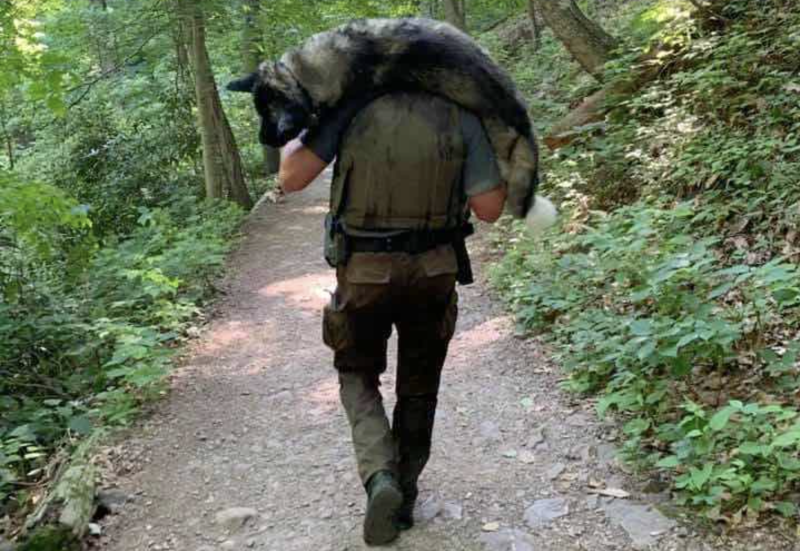 Supervisory Park Ranger Kris Salapek carried a dehydrated dog to safety in the mountainous hills of the Delaware Water Gap National Recreational Area last week. (Lexie Daniel via Good News Network)