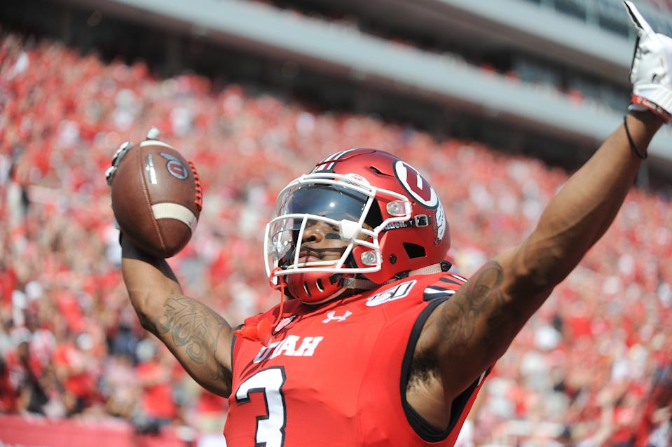 Utah Utes wide receiver Demari Simpkins (3) celebrates after scoring a touchdown against Northern Illinois on Sept. 7. (Getty)