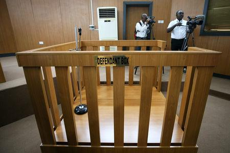 An empty defendant dock is pictured at the Code of Conduct Tribunal in Abuja, Nigeria January 14, 2019. REUTERS/Afolabi Sotunde