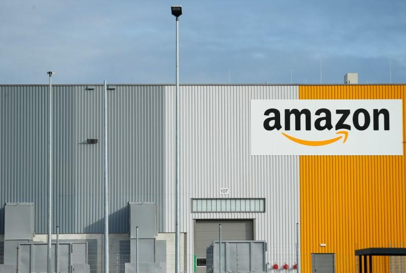 FILE PHOTO - A view of the new Amazon logistic center with the company's logo in Dortmund